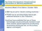 two kinds of accelerations transformational punctuation vs efficiency equilibrium