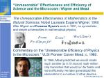 unreasonable effectiveness and efficiency of science and the microcosm wigner and mead