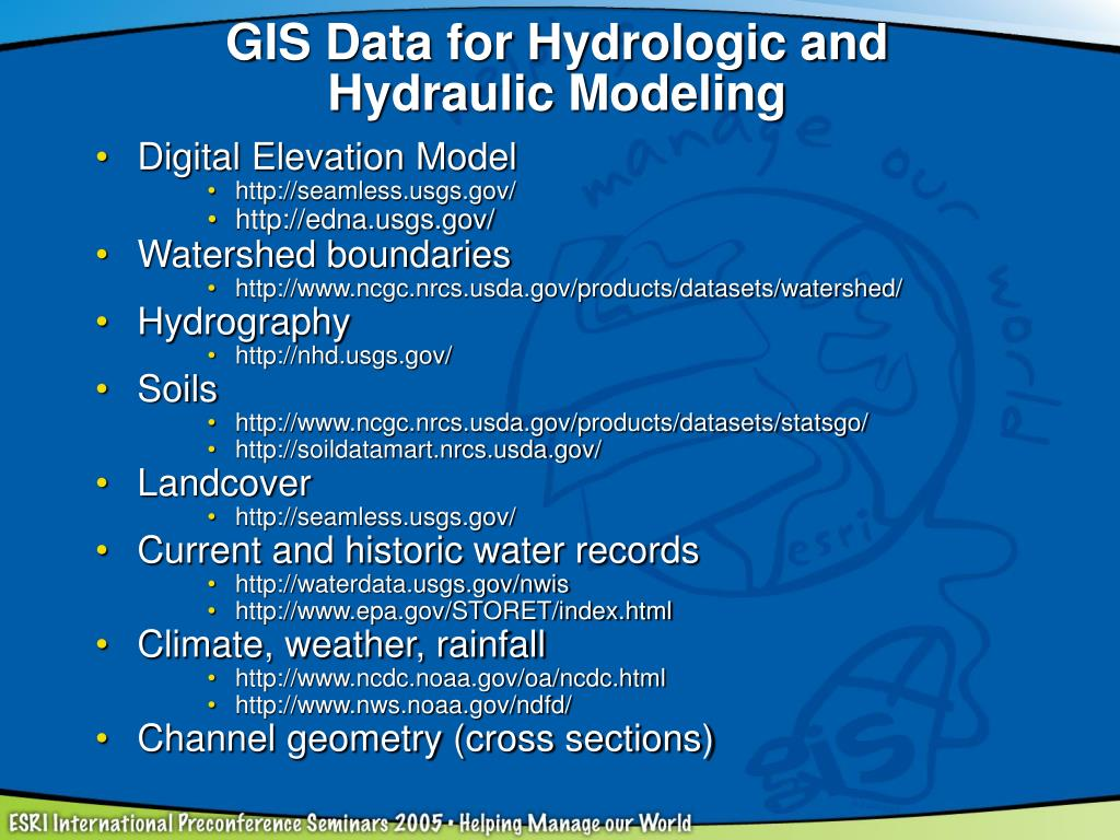 GIS Data for Hydrologic and