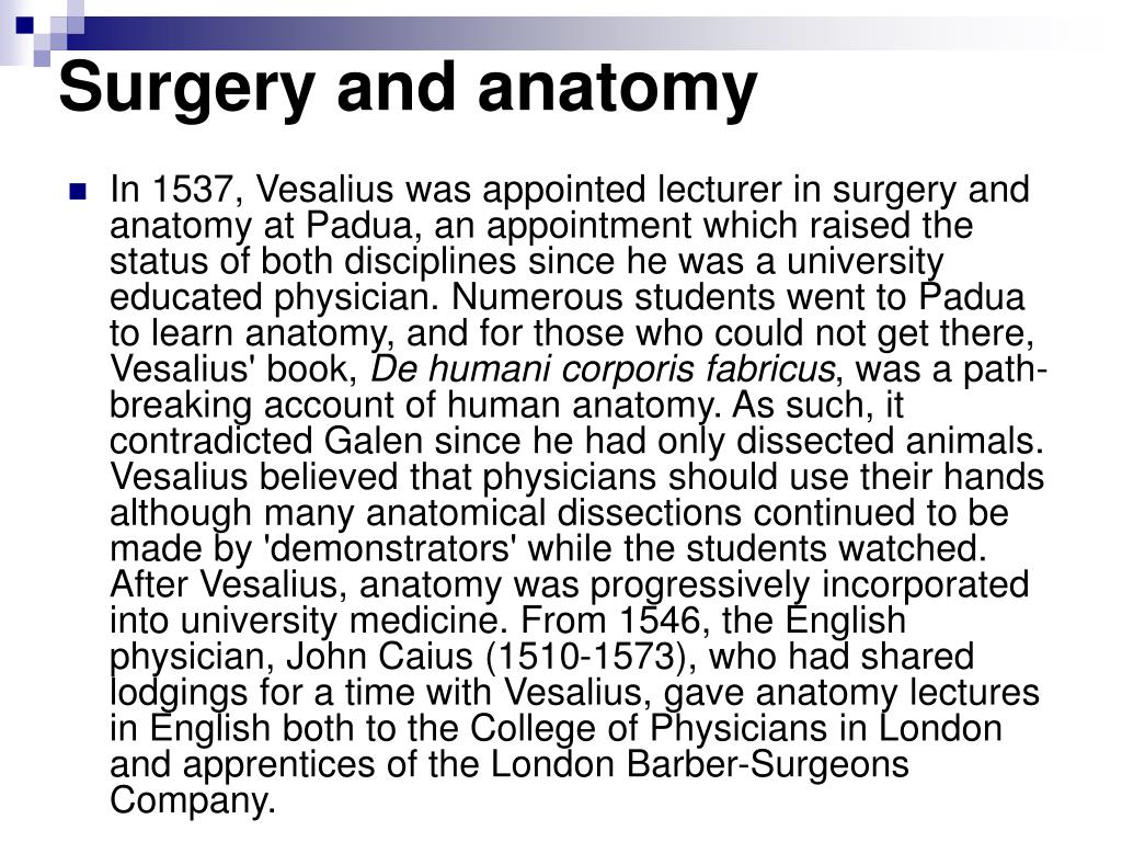 Surgery and anatomy