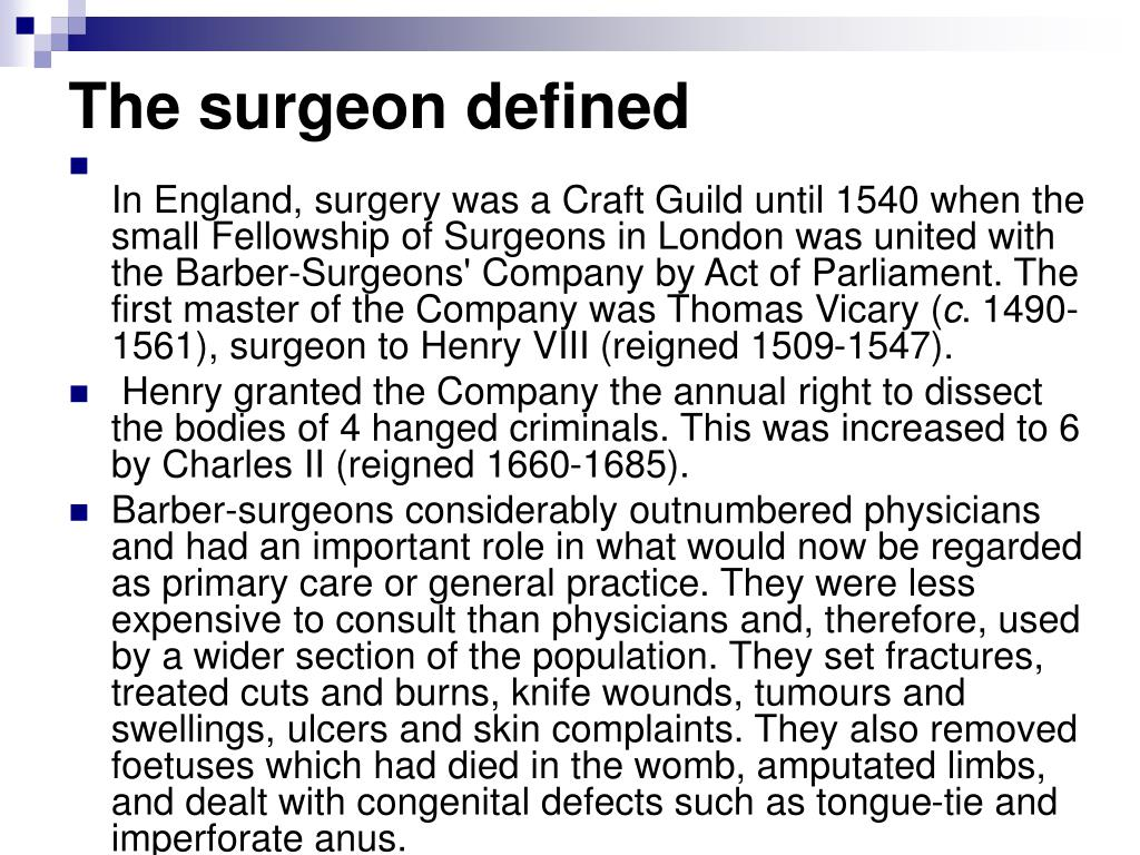 The surgeon defined