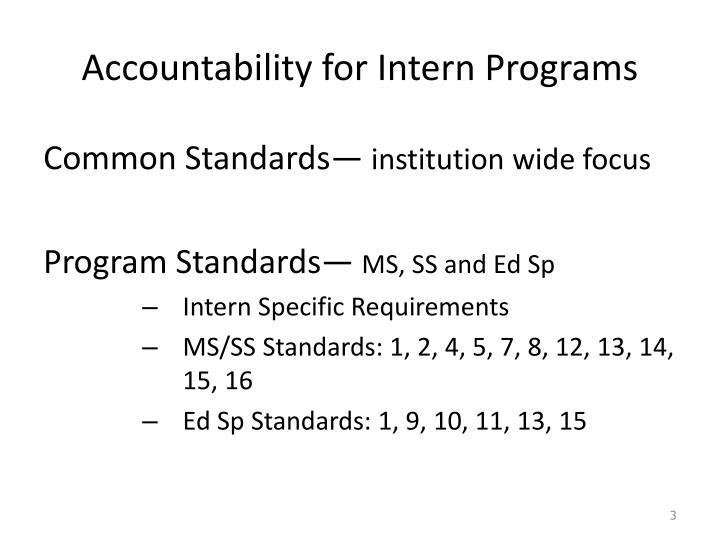 Accountability for intern programs