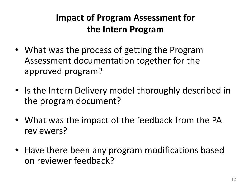 Impact of Program Assessment for