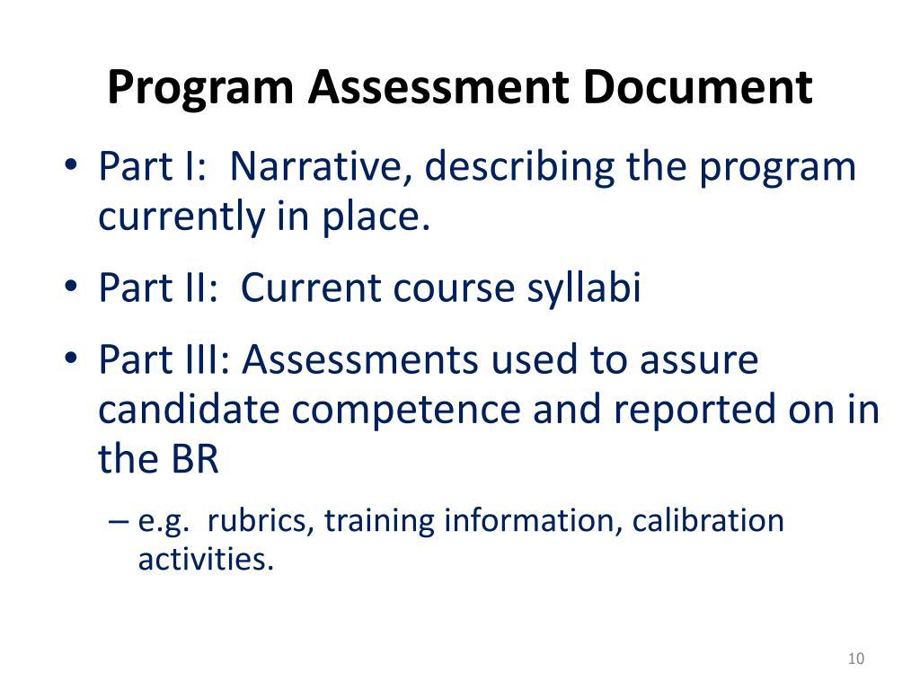 Program Assessment Document