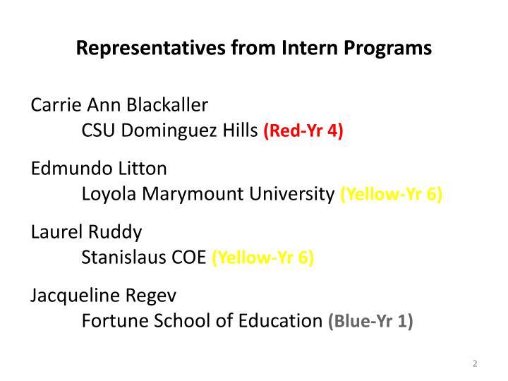 Representatives from intern programs