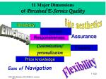11 major dimensions of perceived e service quality