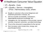 a healthcare consumer value equation
