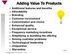 adding value to products