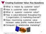 creating customer value key questions