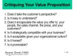 critiquing your value proposition