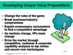 developing unique value propositions