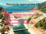 request for approval from eb