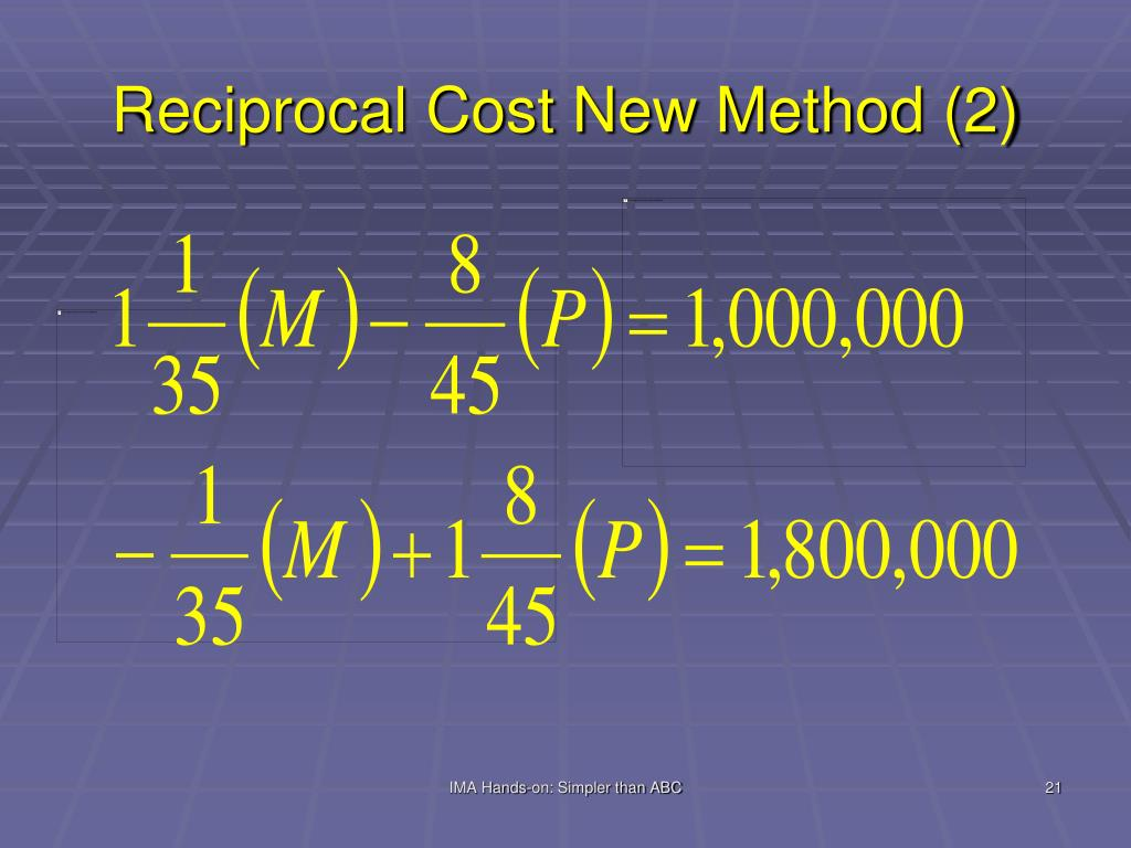 Reciprocal Cost New Method (2)