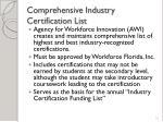 comprehensive industry certification list