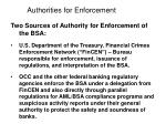 authorities for enforcement