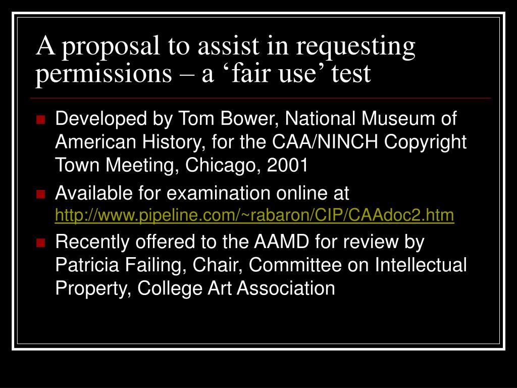 A proposal to assist in requesting permissions – a 'fair use' test