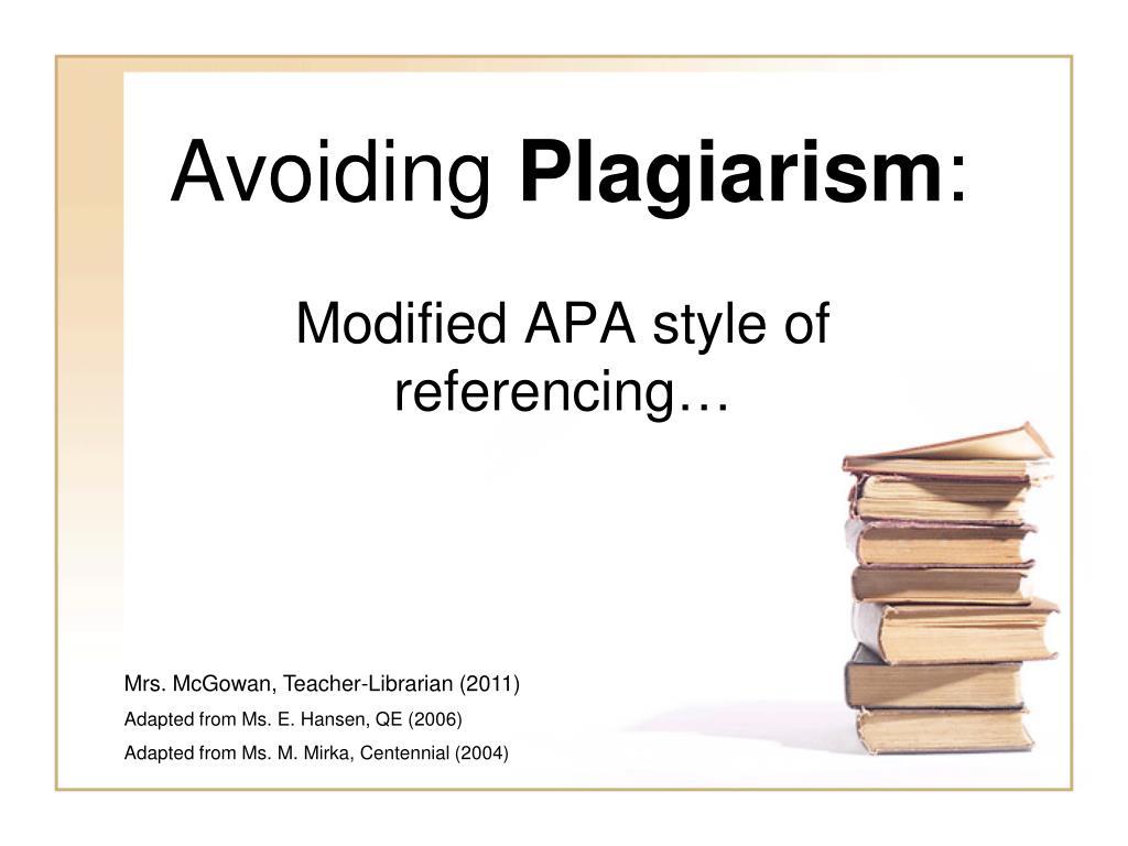 avoiding plagiarism l.