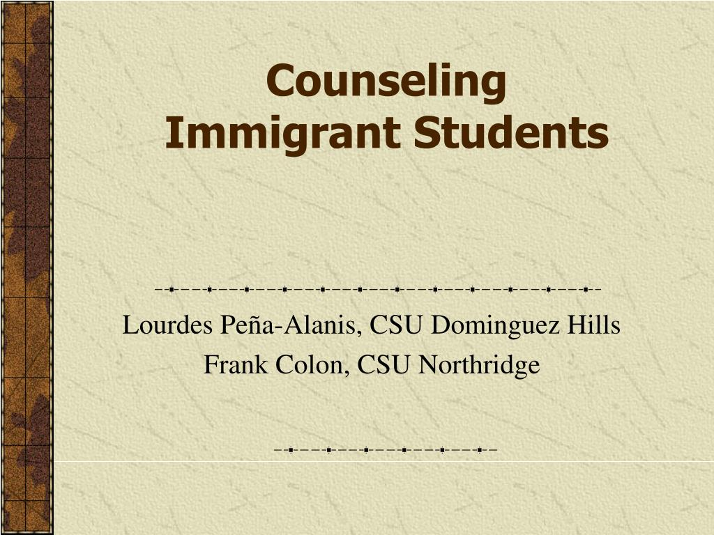 counseling immigrant students l.