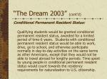 the dream 2003 cont d