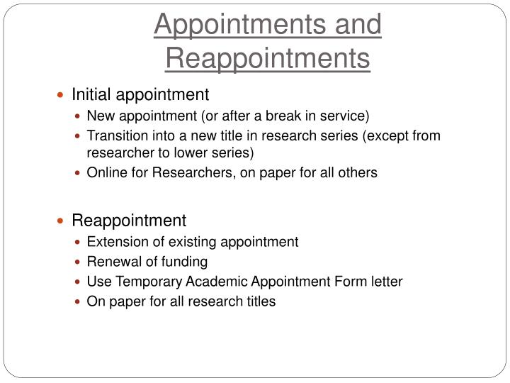 Appointments and Reappointments