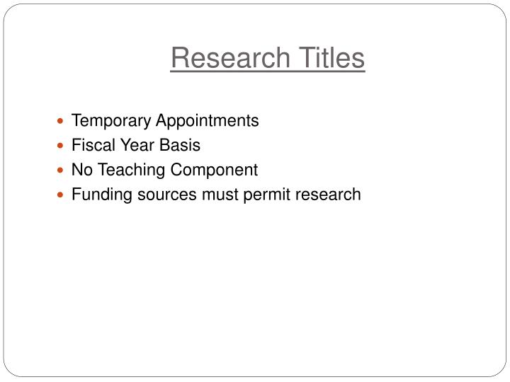Research Titles