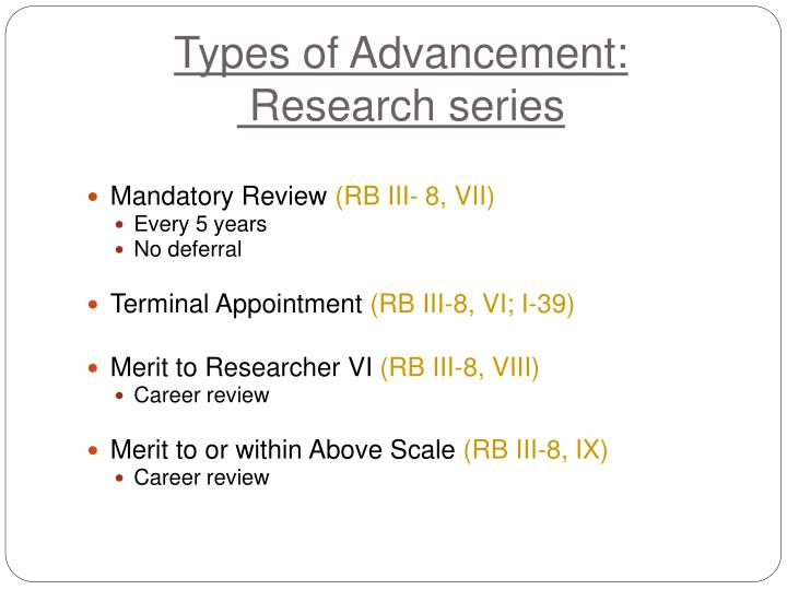 Types of Advancement: