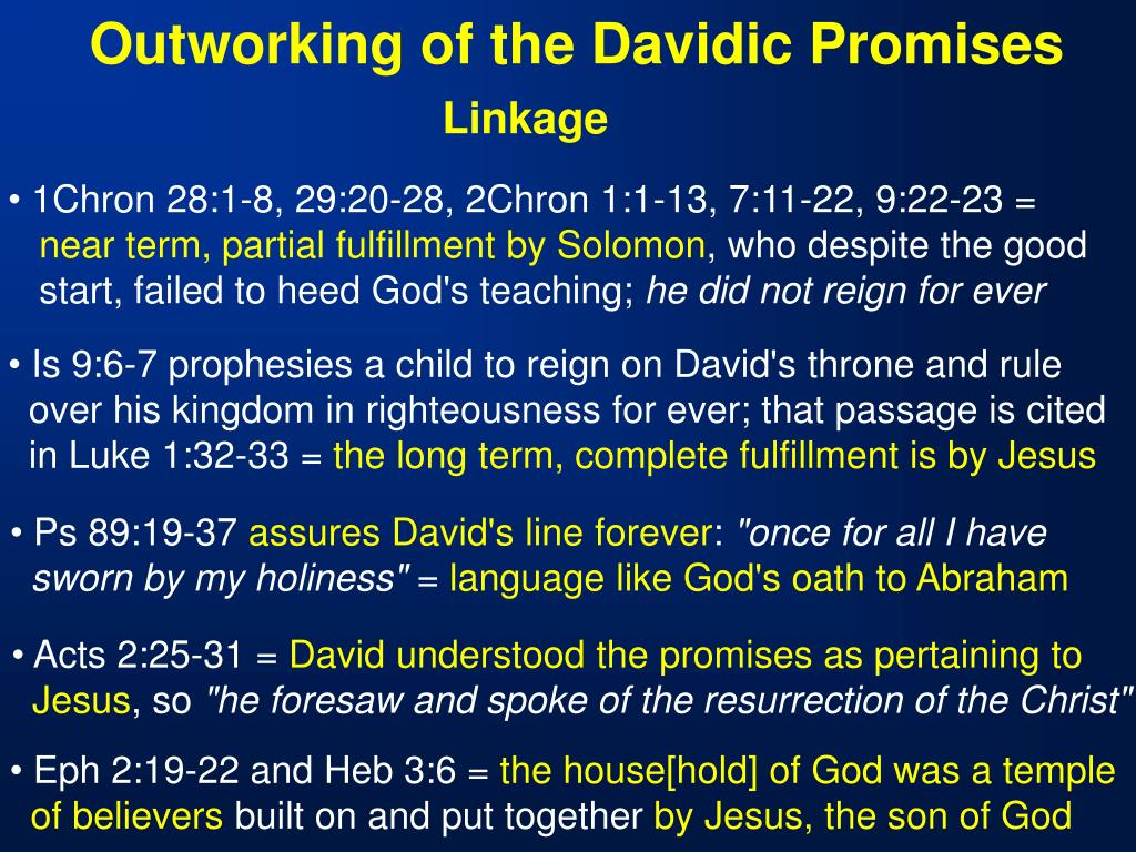 Outworking of the Davidic Promises