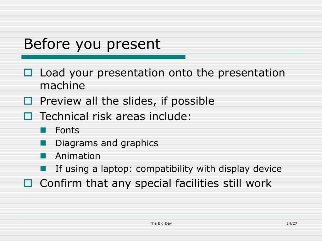 Before you present
