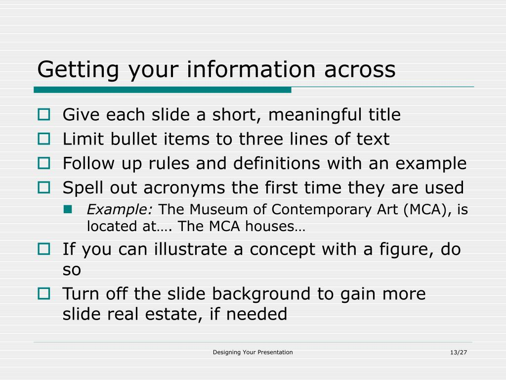 Getting your information across
