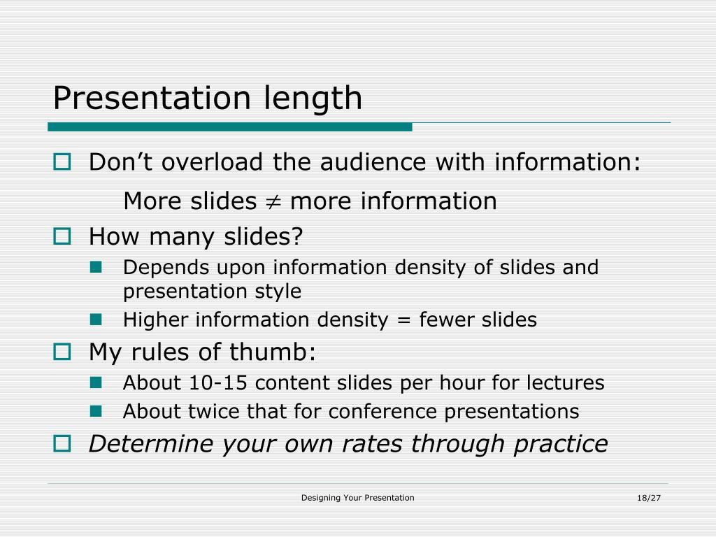 Presentation length