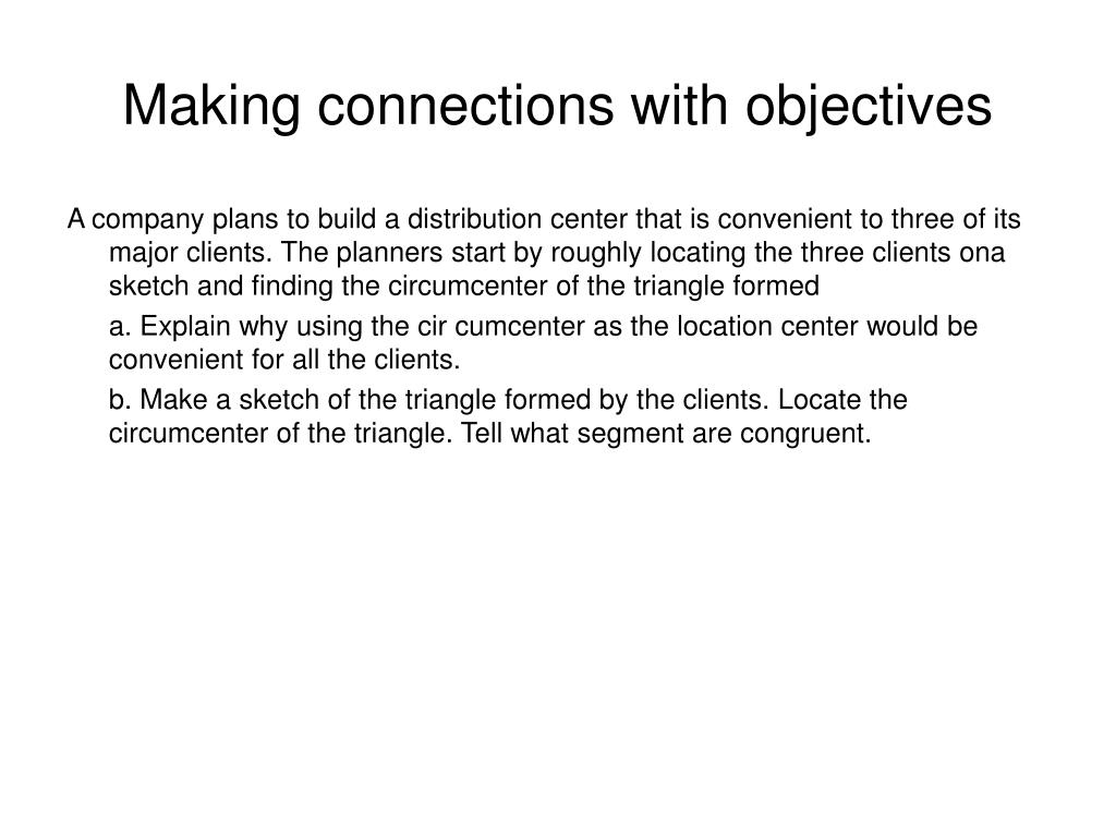 Making connections with objectives