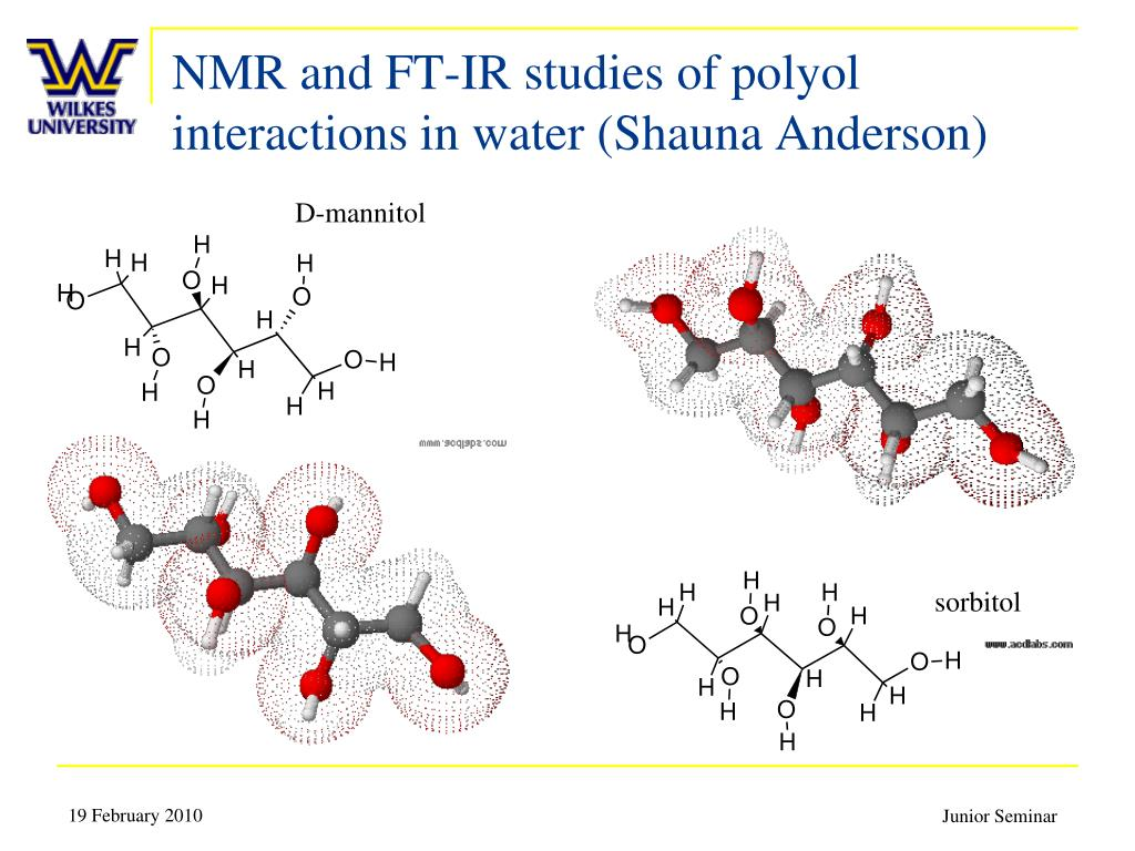 NMR and FT-IR studies of polyol interactions in water (Shauna Anderson)
