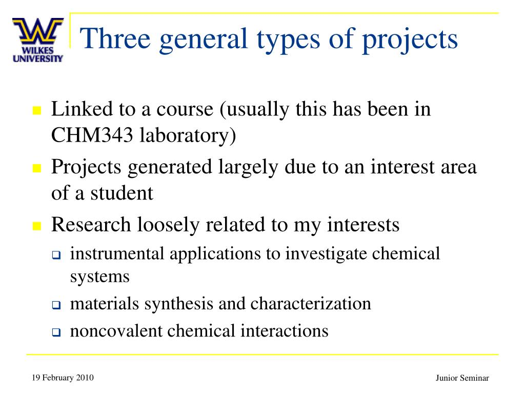 Three general types of projects