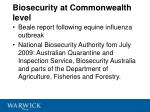 biosecurity at commonwealth level