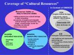 coverage of cultural resources