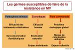 les germes susceptibles de faire de la r sistance en mv