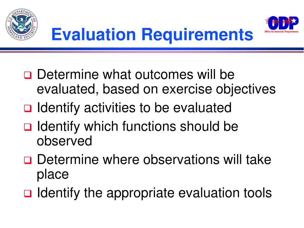 Evaluation Requirements