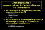 antibior sistance passage indirect de l animal l homme via l alimentation45