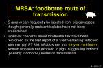 mrsa foodborne route of transmission