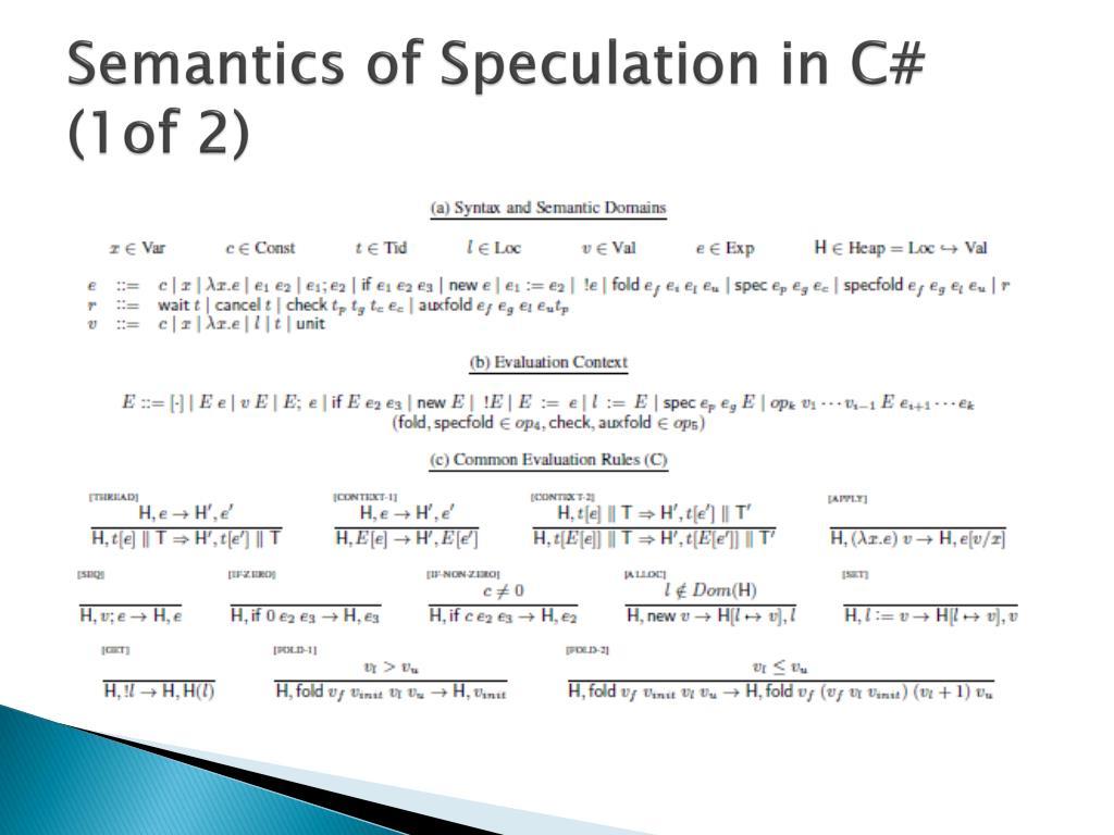Semantics of Speculation in C# (1of 2)
