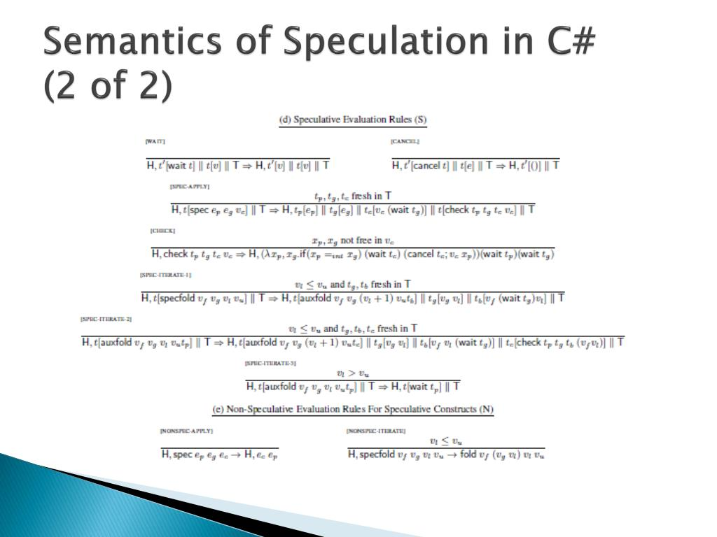 Semantics of Speculation in C#