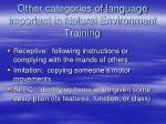 other categories of language important in natural environment training