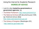 using the internet for academic research words of advice9