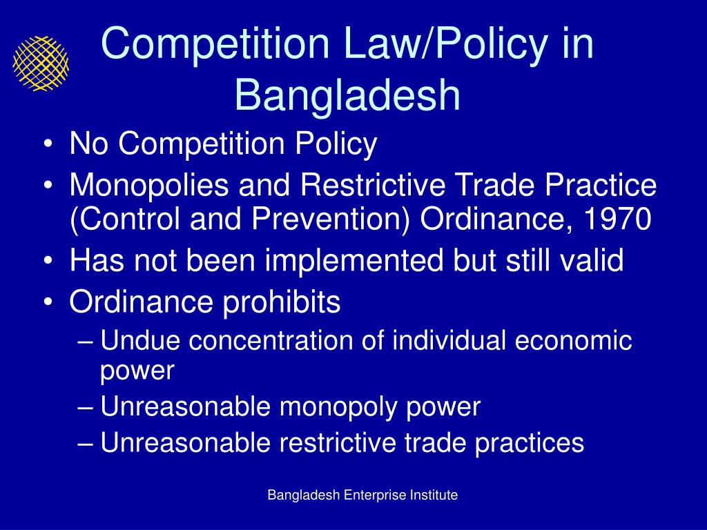Competition Law/Policy in Bangladesh