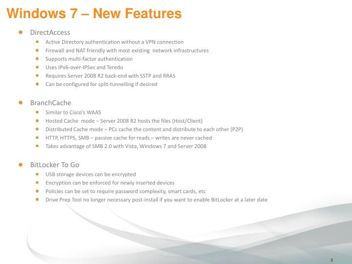 Windows 7 new features