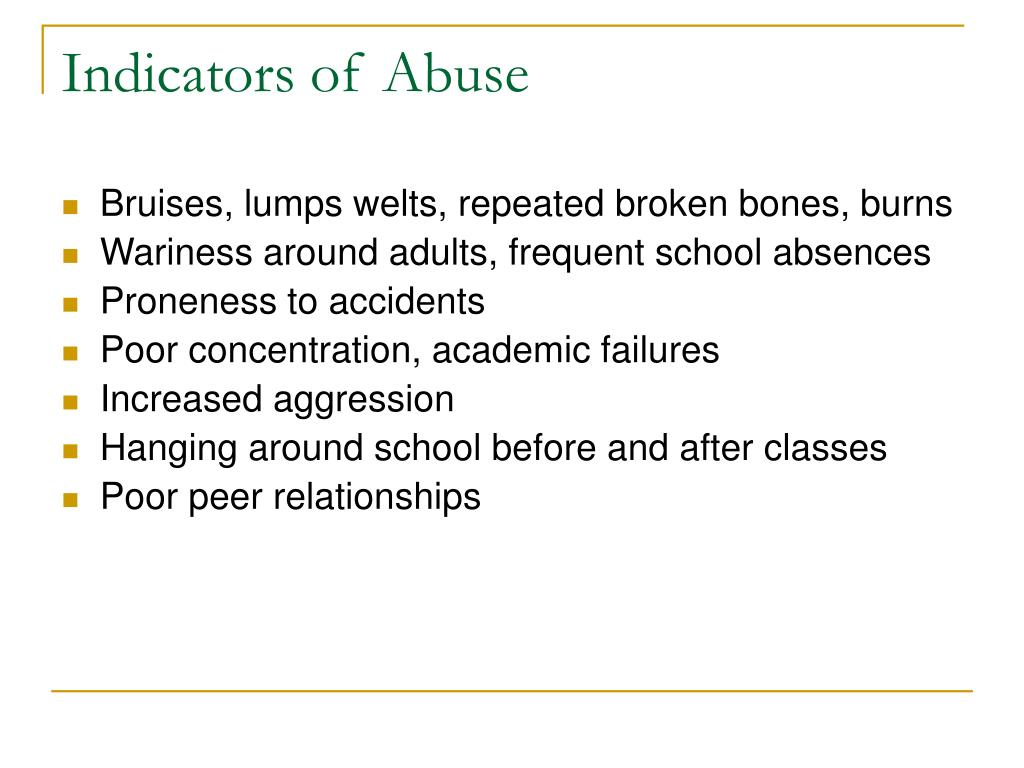 Indicators of Abuse