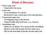 kinds of biozones