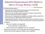 industrial organizational i o model of above average returns aar