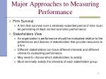 major approaches to measuring performance