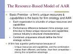 the resource based model of aar9